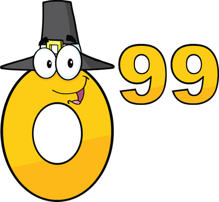 99: Price Tag Number 0 99 With Pilgrim Hat Cartoon Mascot Character