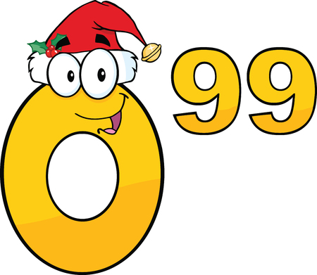 Price Tag Number 0 99 With Santa Hat Cartoon Mascot Character