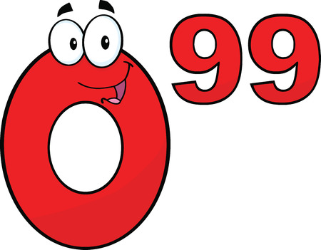 99: Price Tag Red Number 0 99 Cartoon Mascot Character