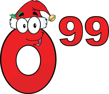 99: Price Tag Red Number 0 99 With Santa Hat Cartoon Mascot Character Illustration
