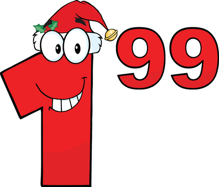 99: Price Tag Red Number 1 99 With Santa Hat Cartoon Mascot Character Illustration