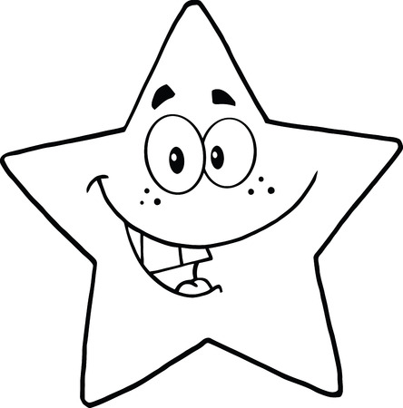 Black and White Smiling Star Cartoon Mascot Character