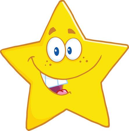 Glimlachend Star Cartoon Mascot Karakter