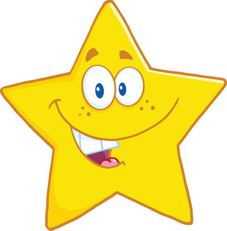star cartoon: Smiling Star Cartoon Mascot Character