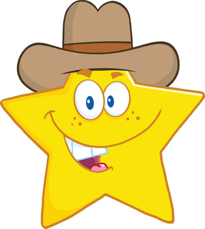 star cartoon: Smiling Star Cartoon Mascot Character With Cowboy Hat