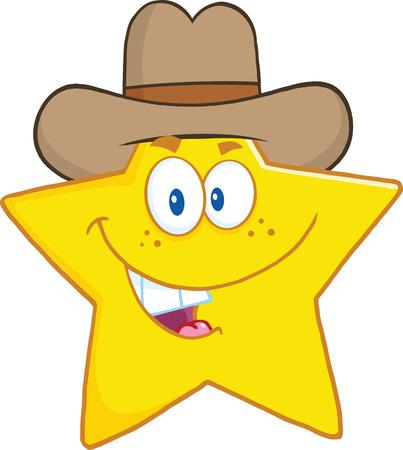 star: Smiling Star Cartoon Mascot Character With Cowboy Hat