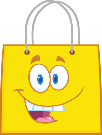 bag cartoon: Happy Yellow Shopping Bag Cartoon Mascot Character