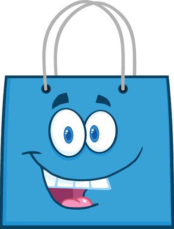 bag cartoon: Happy Blue Shopping Bag Cartoon Mascot Character