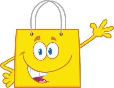 bag cartoon: Smiling Yellow Shopping Bag Cartoon Mascot Character Waving For Greeting