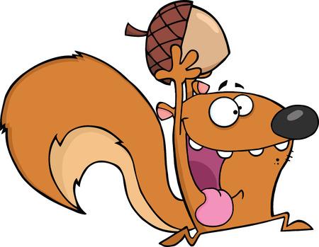 미친 다람쥐 만화 마스코트 캐릭터는 도토리와 실행