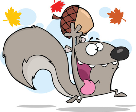 Crazy Gray Squirrel Cartoon Character Running With Acorn Иллюстрация