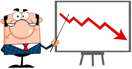落ちてくる矢に提示するポインターで怒っているビジネス マネージャー