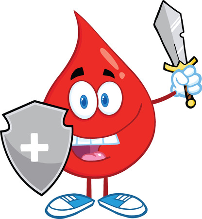 Red Blood Drop Guarder With Shield And Sword Illustration