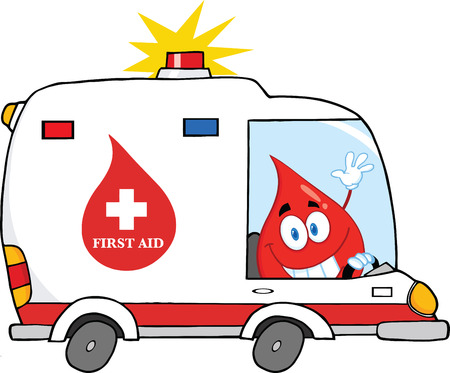 transfusion: Red Blood Drop Character Driving Ambulance Car