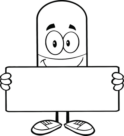 pharmacy pills: Black and White Pill Capsule Cartoon Mascot Character Holding A Banner