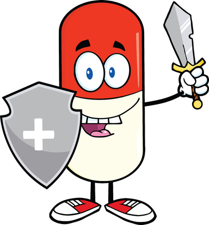 poison symbol: Pill Capsule Guardian With Shield And Sword