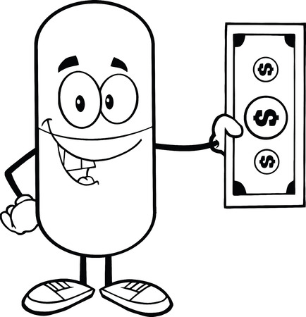 outlined isolated: Black And White Pill Capsule Cartoon Character Showing A Dollar Bill