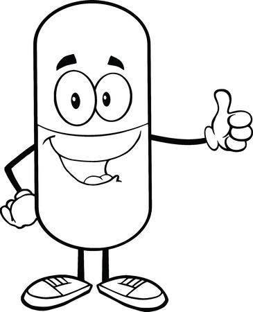 Noir et blanc Capsule Pill renonçant à un pouce Banque d'images - 22617464