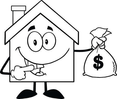 Back And White House Cartoon Mascot Character Holding A Bag Of Money Vector