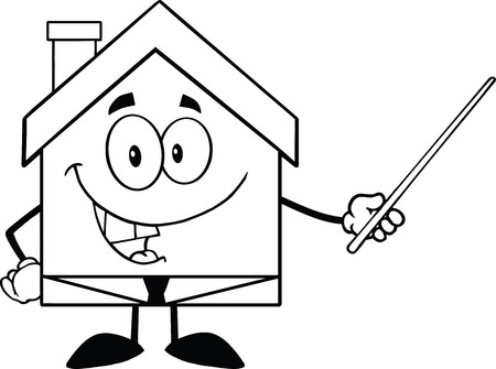 Back And White Business House Cartoon Character Holding A Pointer Vector