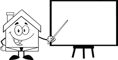 outlined isolated: Black And White Business House Cartoon Character With Pointer Presenting On A Board