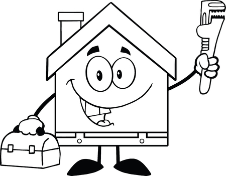 Black And White House Plumber With Wrench And Tool Box Vector