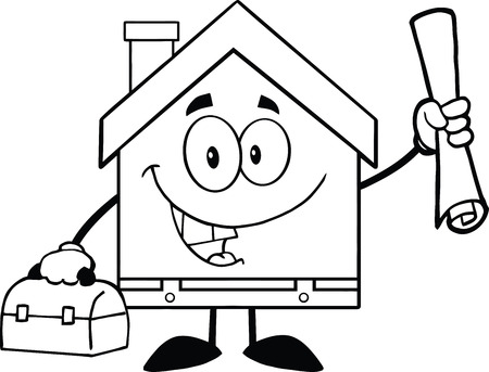 house worker: Black And White House Worker With Blueprint And Tool Box Illustration