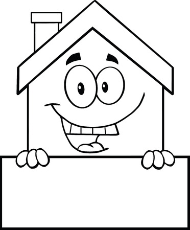 home clipart: Black And White House Cartoon Mascot Character Over Blank Sign