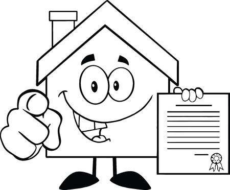 outlined isolated: Black And White House Cartoon Character Pointing With Finger And Holding A Contract Illustration