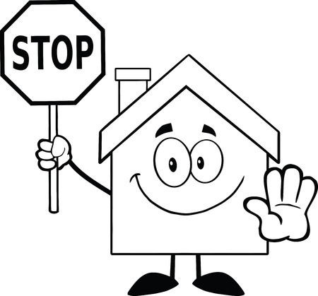 stop hand: Black And White House Cartoon Character Holding A Stop Sign