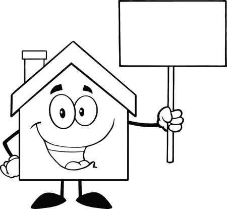 cute house: Black And White House Cartoon Character Holding Up A Blank Sign Illustration