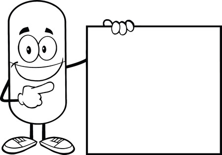 poison symbol: Black And White Pill Capsule Cartoon Character Showing A Blank Sign Illustration