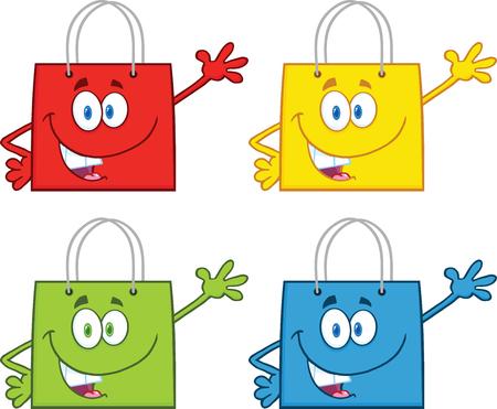 Shopping Bag Stars Cartoon Mascot Characters Waving  Collection Set