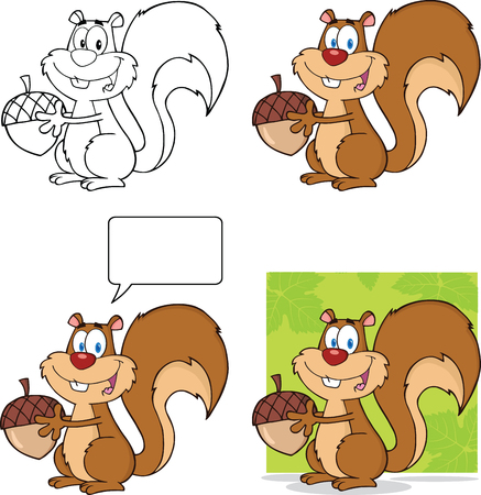 acorn nuts: Cute Squirrel Cartoon Mascot Character Holding A Acorn  Collection Set