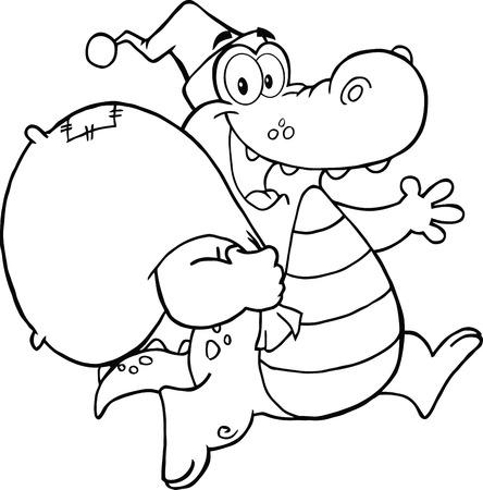 bag cartoon: Black and White Crocodile Santa Cartoon Mascot Character Running With Bag Illustration
