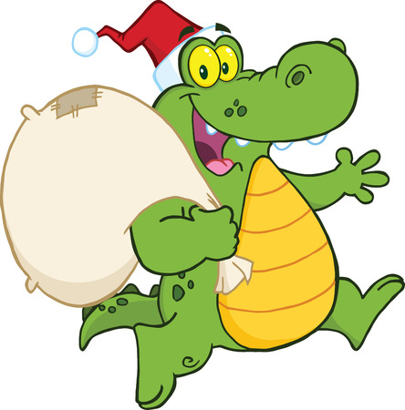Crocodile Santa Cartoon Mascot Character Running With Bag Vector