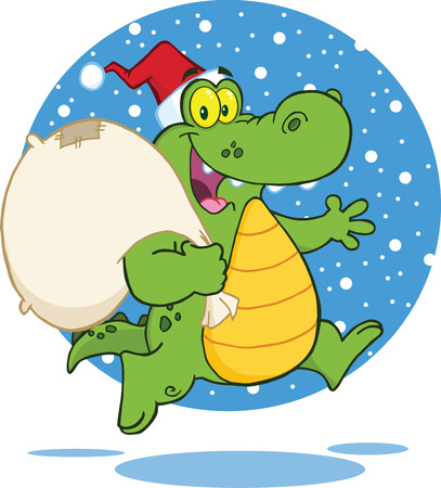 Crocodile Santa Cartoon Character Running With Bag Vector