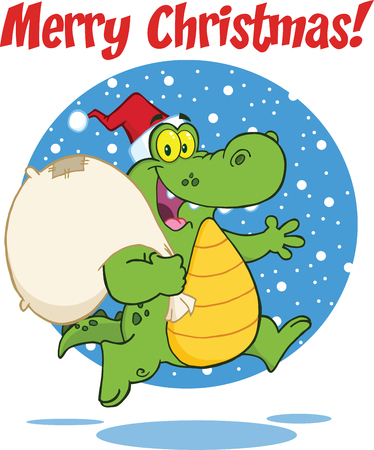 Merry Christmas Greeting With Crocodile Santa Cartoon Character Running With Bag Vector