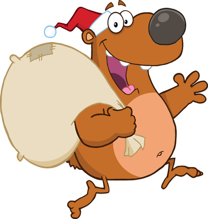 Santa Bear Running With Bag And Waving Vector