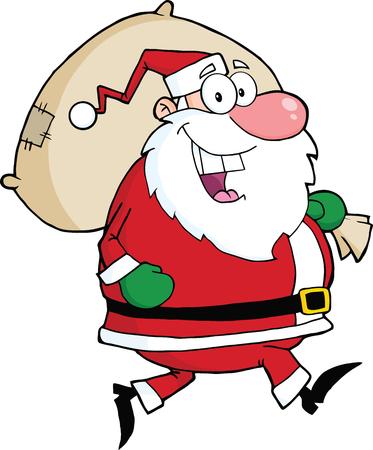 weihnachtsmann lustig: Weihnachtsmann Running With Bag