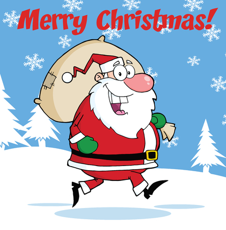 santa clause: Merry Christmas Greeting With Santa Claus Running With Bag Illustration