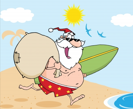 Santa Claus Cartoon Character In Shorts, Running With A Surfboard And Bag