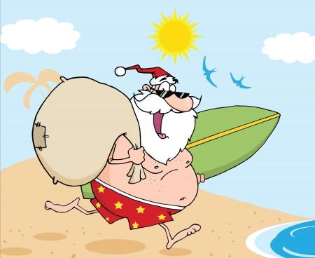 weihnachtsmann lustig: Weihnachtsmann Cartoon Character In Shorts, l�uft mit einem Surfbrett und Tasche Illustration
