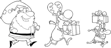 nicholas: Black and White Reindeer, Elf  And Santa Claus Carrying Christmas Presents Illustration