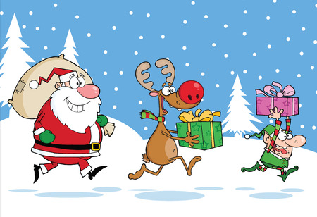 Reindeer, Elf  And Santa Claus Carrying Christmas Presents In Christmas Background Vector