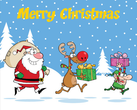 running reindeer: Merry Christmas Greeting With Reindeer, Elf  And Santa Claus Carrying Christmas Presents Illustration