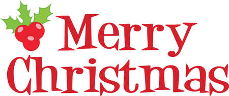 upmarket: Merry Christmas Lettering With Holly Berries And Leaves