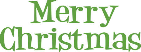 upscale: Merry Christmas Green Lettering  Illustration