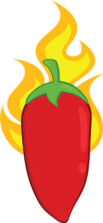 red jalapeno: Red Chili Pepper On Fire Illustration