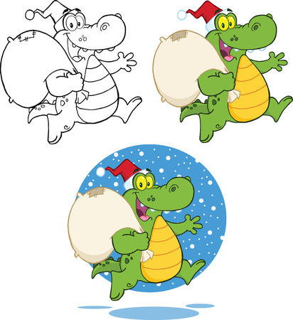Crocodile Santa Cartoon Character Running With Bag  Collection Set Vector